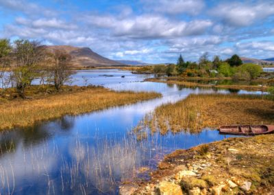 Connemara scenery of mountains reflected in lake