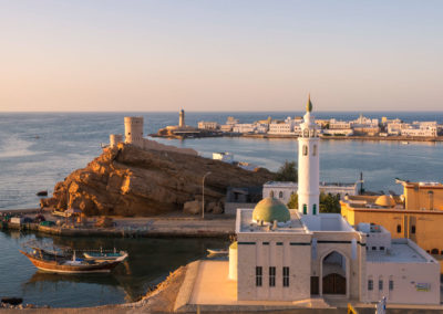 Oman, Sur, Al Ayjah. Al Ayjah Harbour at sunset