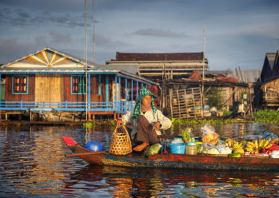 Local Cambodian Seller In Floating Market